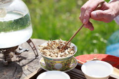Acessórios da cerimônia de chá do chinês tradicional, rim branco Puer Fotografia de Stock Royalty Free