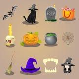 Acessórios de Dia das Bruxas e ícones dos caráteres ajustados Imagem de Stock Royalty Free