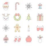 Acessórios lisos do Natal dos símbolos do ano novo do projeto Imagem de Stock