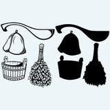 Acessórios prontos da sauna - vassoura, cubeta, chapéu e colher Fotografia de Stock