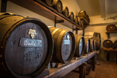 Acetaia - barilotti dell'all'aceto balsamico di Modena Immagini Stock