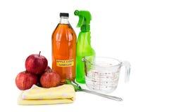 Aceto di sidro di Apple, efficace soluzione naturale per il cleani della casa Fotografia Stock Libera da Diritti