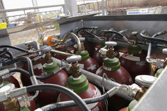 Acetylene cylinders Stock Photography