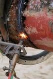 Acetylenfackel und Eisenrohr Lizenzfreie Stockbilder