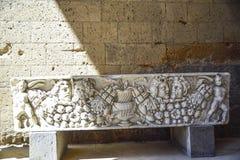 Achado Archaeological Sarcófago fúnebre de Etruscan com bonito Fotografia de Stock Royalty Free