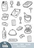 Achado dois as mesmas imagens, jogo da educação, grupo de objetos para um restaurante ilustração stock
