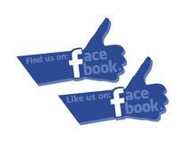 Achado e como nós no ícone forte do polegar de Facebook ilustração stock