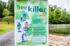 Acharacle, Scozia - 24 maggio 2017: Avvertimento del segno del Phytophthora di malattia dell'albero Fotografia Stock Libera da Diritti