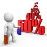 Achat au temps de ventes - une image 3d illustration stock