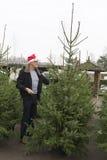 Achat d'un arbre de Noël Image libre de droits