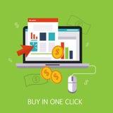 Achat dans un art de concept de clic Images stock