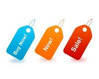 Achat maintenant/étiquettes neuves et de vente Photos stock