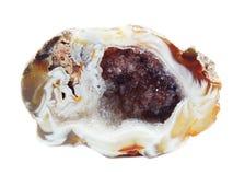 Achat mit geologischem Kristall des Chalcedony Stockbilder