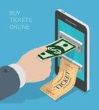 Achat mobile isométrique plat du billet 3d en ligne : billet de smartphone Images libres de droits