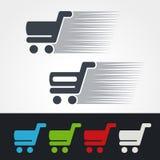 Achat rapide de symbole, silhouette de chariot à achats Le caddie simple, ajoutent au panier l'article, achètent le bouton Vert,  Photo stock