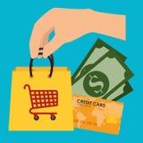Achat sur la ligne avec la carte de crédit illustration libre de droits