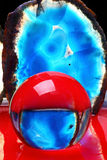 Achat und Kristall rot gemalt Stockfoto