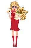 Achats blonds enceintes de Chic pour des épiceries Photographie stock
