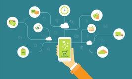 Achats d'affaires sur la ligne sur le concept de mobile de nuage Image stock