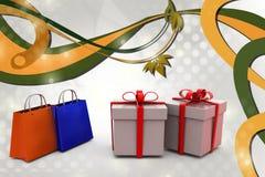 achats 3d et illustration de cadeau Photographie stock
