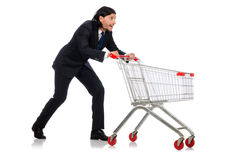 Achats d'homme avec le chariot de panier de supermarché Photographie stock libre de droits