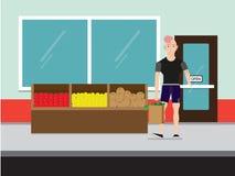 Achats d'homme de forme physique de Bodybuilder pour des fruits et légumes dans le département de produit d'une épicerie ou d'un  illustration libre de droits