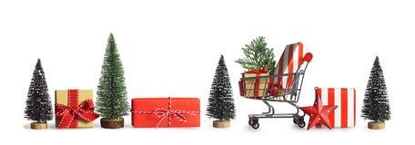 Achats de cadeau de Noël Drapeau de Noël images stock