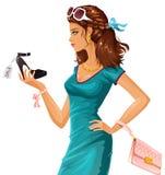Achats de chaussure illustration stock