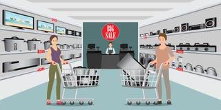 Achats de client au magasin électronique illustration stock
