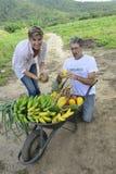 Achats de client directement de l'agriculteur local Images libres de droits