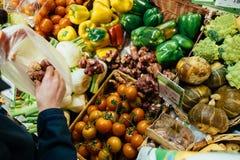 Achats de femme au marché végétal le bio Je frais organique frais Image stock