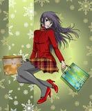 Achats de fille d'Anime dans Noël - avec le fond Photo libre de droits