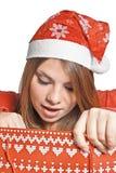 achats de fille de Noël de sac Photo stock
