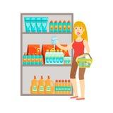 Achats de fille pour les boissons, le centre commercial et l'illustration de section de magasin Photographie stock libre de droits