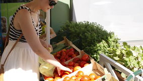 Achats de jeune femme pour les légumes frais banque de vidéos