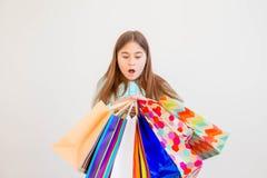 Achats de l'adolescence de fille Image libre de droits