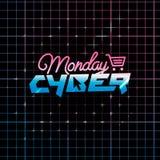Achats de lundi de Cyber et concept en ligne de vente Photos stock