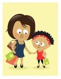 Achats de mère et de descendant illustration stock