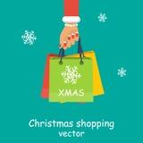 Achats de Noël, idée pour votre conception Vecteur Image stock