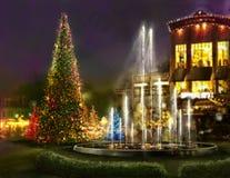 Achats de Noël, place romantique pour le dîner Image libre de droits