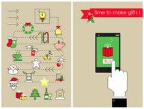 Achats de Noël pour des cadeaux faisant des emplettes pour les vacances Vecteur illustration de vecteur