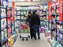 Achats de week-end de supermarché Photographie stock libre de droits