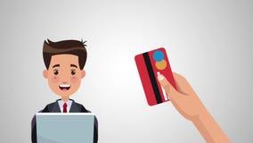Achats en ligne avec l'animation de la carte de crédit HD banque de vidéos