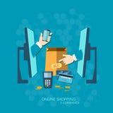 Achats en ligne de paiement de NFC de commerce électronique avec la carte de crédit Photographie stock
