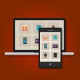 Achats en ligne de vente au détail de commerce de commerce électronique Images stock