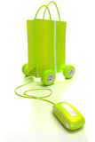 Achats en ligne en vert Image stock