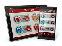 Achats en ligne et cadeaux Photo libre de droits