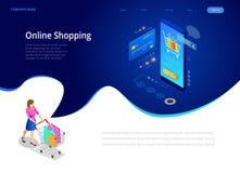 Achats en ligne, vente, consommationisme et magasin en ligne Calibre de achat en ligne de smartphone intelligent isométrique mobi illustration de vecteur