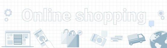 Achats en ligne Word sur le concept horizontal carré de commerce électronique de bannière de fond Photos libres de droits