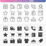Achats et ligne ensemble d'argent d'icône Images libres de droits